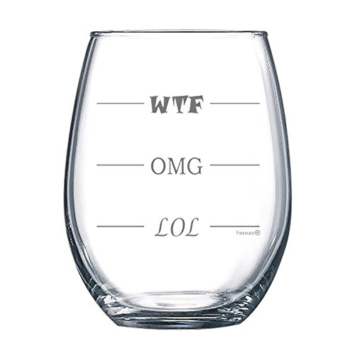 Fineware LOL-OMG-WTF 15 oz Stemless Funny Wine Glass - Finally a Wine Glass for Every Mood!