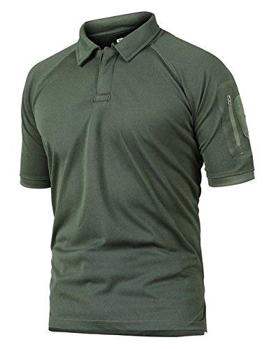 donhobo Herren Polo Shirts Short Sleeve Outdoor T-Shirt Quick Dry Militär Sport atmungsaktiv Zip Pocket L 01Green
