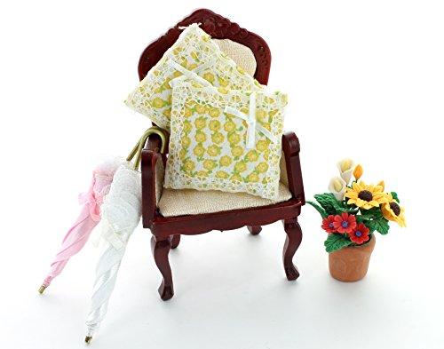Puppenhaus Sets Sessel, 2 Kissen, 2 Regenschirme und 1 Pflanze