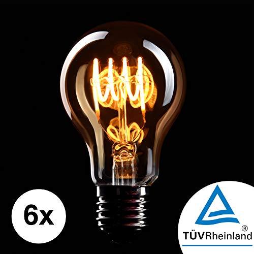 CROWN LED 6 x Edison Glühbirne E27 Fassung, 4W, Warmweiß, 230V, EL02, Antike Filament Beleuchtung im Retro Vintage Look
