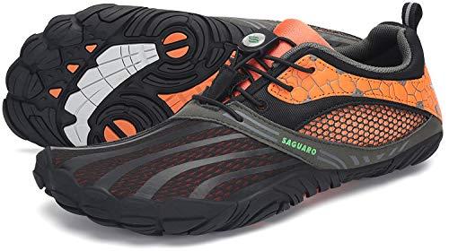 SAGUARO Barfußschuhe Herren Zehenschuhe Outdoor Traillaufschuhe Männer Straßenlaufschue Five Finger Schuhe St.1 Orange 44