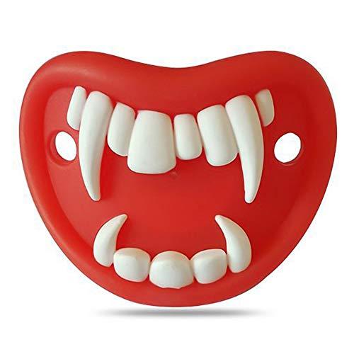 Vinctik 6&Fox Halloween Pacifier Skull Pumpkin Vampire Funny Pacifier Clip Teething Soother Holder(Red)