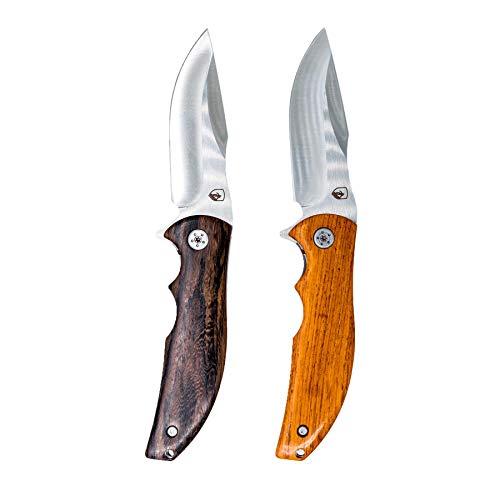 Alpin Loacker Taschenmesser K93 Pro extra scharf I Klappmesser mit Holzgriff I Outdoor Messer mit Stahlklinge I Einhandmesser mit Gürtelclip (Schwarzholz)
