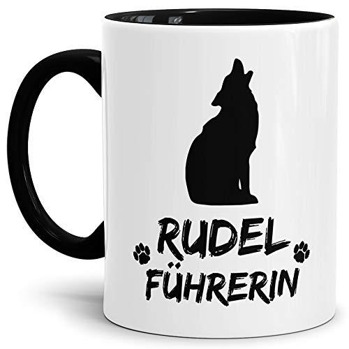 Tassendruck Wolf-Tasse Rudelführerin Innen & Henkel Schwarz/Hunde-Tasse/Tasse mit Spruch/Schön/Mug/Cup/Beste Qualität - 25 Jahre Erfahrung