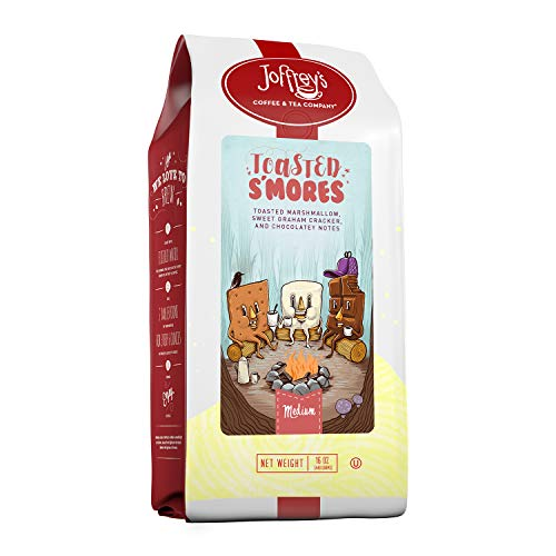 Joffrey's Coffee - Toasted S'Mores, Flavored Coffee, Artisan Medium Roast, Arabica Coffee Beans, Marshmallow, Graham Cracker, & Chocolate Flavor, Gluten-Free, No Sugar (Ground, 16 oz)