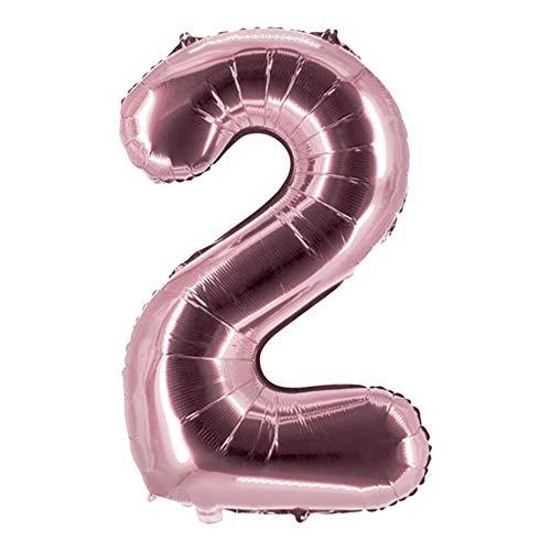 Party Factory Globo de helio XXL con el número 2, 100 cm, color rosa, para cumpleaños, Abi, aniversario, fiesta, decoración