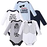 Hudson Baby Unisex Baby Cotton Long-Sleeve Bodysuits, Handsome Little Man, 3-6 Months