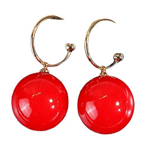 Juego de pendientes para mujer, con forma de C, perlas de imitación, color rojo