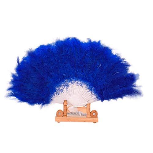YWLINK Abanicos,28 Abanicos De Plumas Boda Showgirl Danza Elegante Pluma Grande Plegable Mano Fan Decor Decal Fiesta De Bodas Manualidades Memorial Nacional De Viento(Azul)