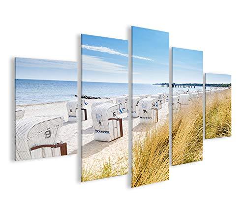 islandburner Bild Bilder auf Leinwand Strandkorb Strand Meer MF Urlaubsfeeling XXL Poster Leinwandbild Wandbild Dekoartikel Wohnzimmer Marke