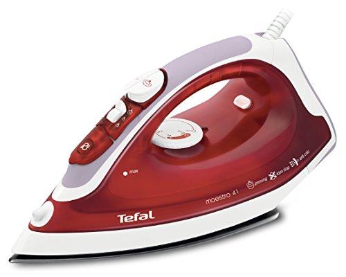 Tefal FV3741 Dampfbügeleisen Maestro, 2100 W, 30 g/min Dampfleistung, 95 g/min Dampfstoß, PTFE Bügelsohle, rot/weiß