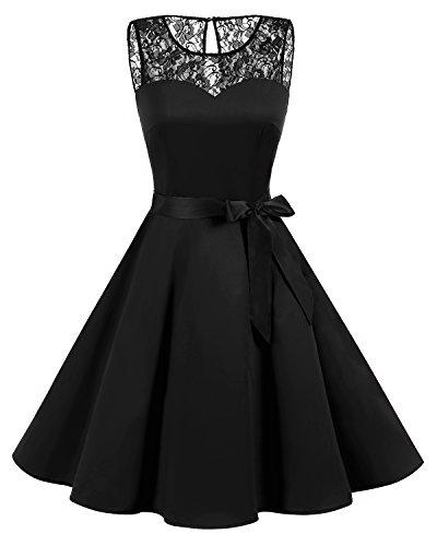 bbonlinedress 1950er Ärmellos Vintage Retro Spitzenkleid Rundhals Abendkleid Black 3XL