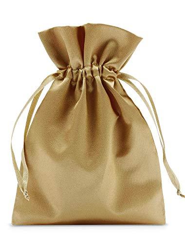 12 bolsas de satén con cordón para cerrar, tamaño 20x13cm, bolsita de satén, envoltorio elegante para regalos, joyas, navidad, cumpleaños y bautizos (dorado)