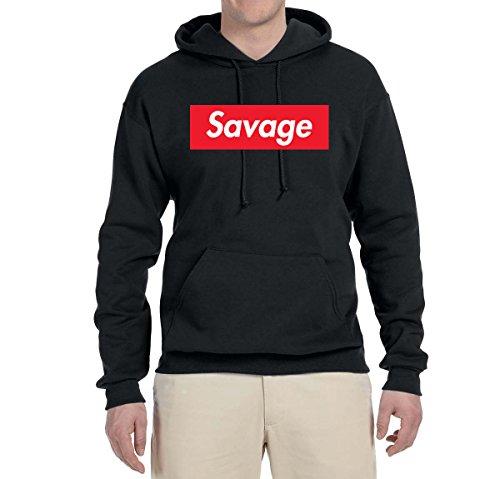 Savage Red Box Logo Parody | Mens Streetwear Hooded Sweatshirt Graphic Hoodie, Black, Medium