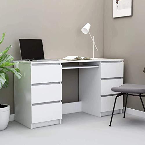vidaXL Bureau Table d'Ordinateur avec 6 Tiroirs Table d'Etude Table Informatique Table d'Ecriture Maison Blanc 140x50x77 cm Aggloméré