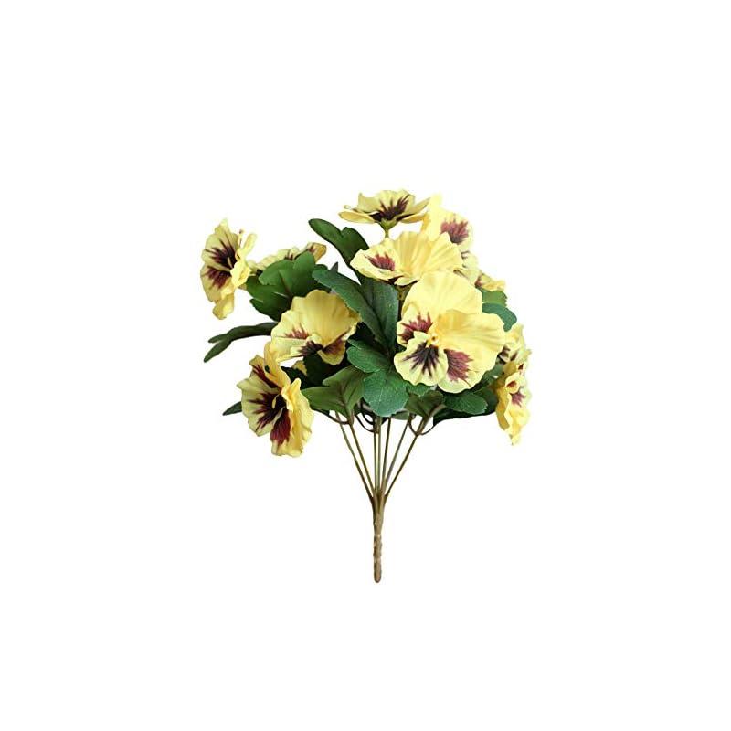 silk flower arrangements 1pc artificial flower pansy garden diy wedding stage office room craft decoration yellow