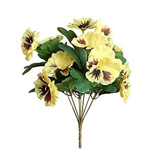 Silk Flower Arrangements angel3292 Artificial Flower Pansy Garden DIY Stage Party Home Wedding Craft Decoration Yellow