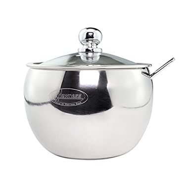 Newness Stainless Steel Sugar Bowl with Clear Lid(for better recognition) and Sugar Spoon for Home and Kitchen, Drum Shape, 8.1 Ounces(240 Milliliter)