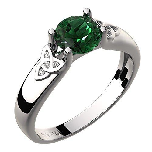 GWG Jewellery Anillos Mujer Regalo Anillo Celta Plata de Ley Circonita Grande de Color Esmeralda Verde Adornado con Nudos de Trinidad Incrustados con Cristales para Mujeres