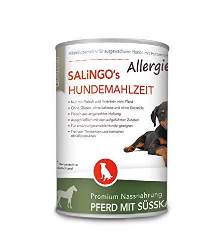 SALiNGO Premium Nassfutter für Hunde   Pferd mit Süßkartoffel & Zucchini   getreidefrei   Single Protein   hypoallergen   6x400g