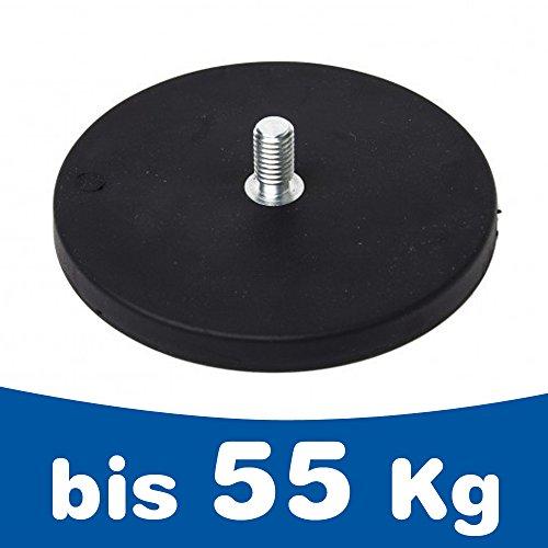 Neodym Magnet-System gummiert Gewindezapfen - Durchmesser: Ø 22 mm bis Ø 88 mm - Gewinde-Zapfen: M4 bis M8 - Haftkraft bis 55 kg - NdFeB Magnetsysteme mit Gummimantel - Anti-Rutsch-Beschichtung, Größe:Ø 66mm | M8x15 | 25kg Haftkraft