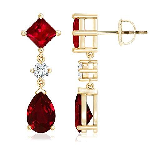 Singles Day Sale - Orecchini a goccia con rubino quadrato e diamante e Oro giallo, colore: Oro, cod. ANG-E-SE0262R-YG-AAAA-9x6