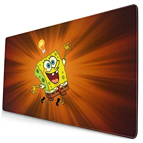 Spongebob Squarepants Mouse Pad with Stitched Edge Premium-Textured Mouse Mat Rectangle Non-Slip Rubber Base Oversized Gaming Mousepad,for Laptop Computer & Pc 15.8x29.5 Inches