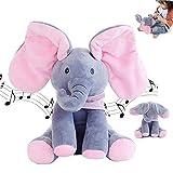Plush Toy Peek-A-Boo Elephant, Flappy The Elephant Baby Animated Elephant Talking Singing Elephant Plush Cute Toy Gift (Pink)