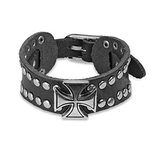 Tapsi´s Coolbodyart®  Armband Leder Schwarz Eiserne Kreuz Verstellbar 160 x 30mm