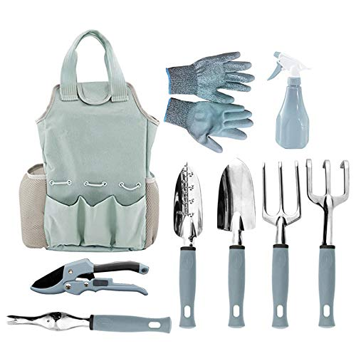 Outils de jardinage Kit de jardinage en plein air 9 pièces avec des gants de jardinage et soutiers Sac fourre-tout lourd et outils à main pour les hommes et les femmes Cadeaux de jardinage,Bleu