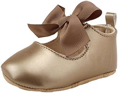 Zapatos de bebé, Switchali Zapatos Bebe niña Princesa Verano Recién Nacido Niña Cuna Suela Blanda Antideslizante Zapatillas Bebé niña Bowknot Vestir Casual (11 (0~6meses), Oro)