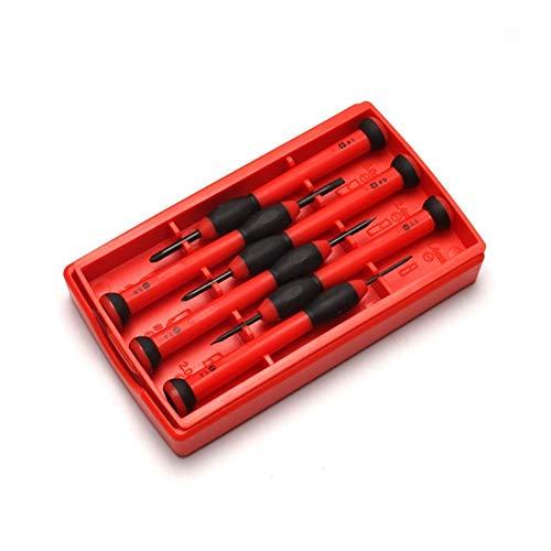 Zimaes Diversidad 6 en 1 Destornillador Reloj Relojes Herramientas Kit de reparación de Mini Juego de Destornilladores completar (Color : Red)
