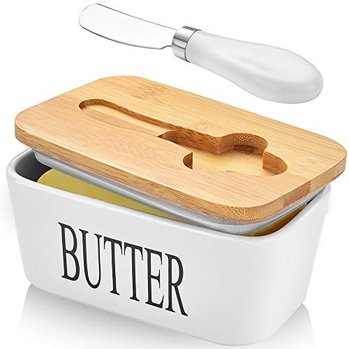 Large Butter Dish with Lid Ceramic Butter Keeper with knife, Double Silicone Seals, Easy Clean, Butter Dishes with Covers Perfect for 2 Sticks of Butter West or East Coast Butter, White