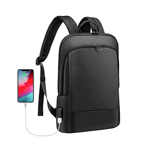 LOVEVOOK Laptop Rucksack 15.6 Zoll leicht mit USB-Ladeanschluss, Rucksack wasserdicht | mit Laptopfach | Anti-Diebstahl, Rucksack schwarz