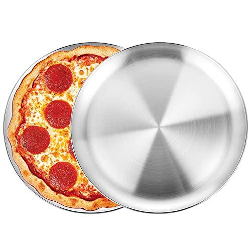 WEZVIX Plaques à Pizza en Acier Inoxydable Lot de 2, Ronde Plateau à Pizza Diamètre de 30 cm, Robuste et inodore, Antiadhésif et lavable au lave-vaisselle