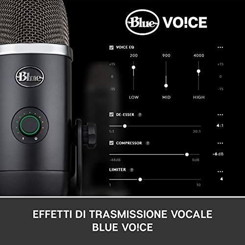 Blue Microphones Yeti X Professionale USB a Condensatore con Misurazione ad Alta Risoluzione, Illuminazione a LED ed Effetti Blue Voice per Gaming, Streaming e Podcast su PC e Mac, Nero