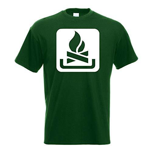 Kiwistar - Lagerfeuerplatz Stelle Piktogramme T-Shirt in 15 Herren Funshirt Bedruckt Design Sprüche Spruch Motive Oberteil Baumwolle Print Größe S M L XL XXL