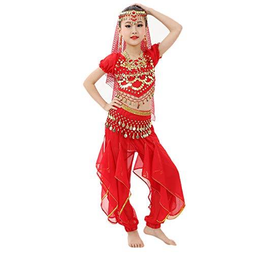Mädchen Bauchtanz Kostüme Kinder Bauchtanz Ägypten Tanzkleid Kurzarm Top + Pluderhosen 2 PCS Piebo Indische Bollywood Orient Kostüme Belly Dance Pailletten Karneval kein Kopftuch, Keine Hip Schal