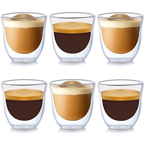 Isolierte Espresso-Gläser 6-er Set, 70 ml, Espressogläser, Doppelwandige Espresso-Tassen, Schwebeeffekt im 6er Set, für Espresso, Tee, Eistee, Cocktails geeignet, Whiskey