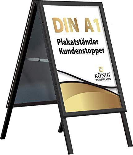 Plakatständer Keitum Black Line DIN A1 schwarz   beidseitig für 2 Plakate   entspiegelte Schutzscheiben   Kundenstopper Gehwegaufsteller   Dreifke®