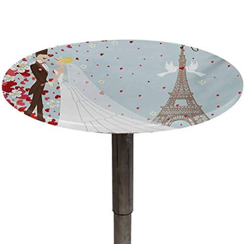 Outdoor Tablecloth Round Wedding Washable Dust-Proof Table Cover French Couple Hand Drawn Paris Eiffel Tower Getting Married Hearts Celebration for Outdoor Picnics Blue Red White Diameter 48'