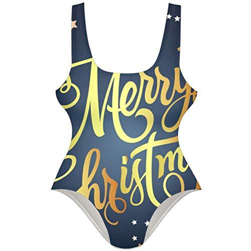 TIZORAX Damen Badeanzug Merry Christmas Schriftzug mit Sternen Einteiler Badeanzug Badeanzug Gr. S, Mehrfarbig