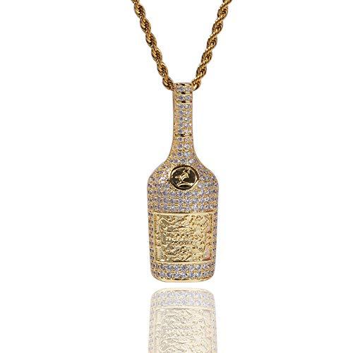 Hip-Hop Micro-Incrustaciones de circón Colgante de Botella de Whisky Hiphop Collar de Moda Hipster (Oro, Plata), Joyas