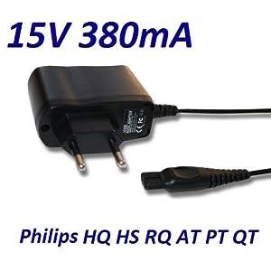 CARGADOR ESP ® Cargador Corriente 15V Reemplazo Afeitadora Philips QT-Serie PT-Serie HQ-Serie RQ-Serie. Sustituye: HQ8505 CRP136 Recambio Replacement