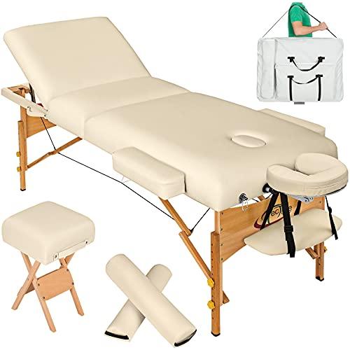 TecTake Massageliege 10cm reine Polsterung inkl. 2 Lagerungsrollen, Hocker & Tasche & Alukopfstütze - Farbe wählbar - (Beige)