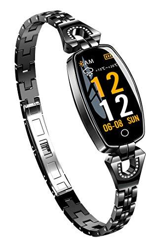 Kugce - Reloj de pulsera para fitness, monitor de presión y frecuencia cardíaca, para hombre y mujer, impermeable, IP67, SmartWatch H8, sueño, podómetro, podómetro, para Android e iOS-Twp, color negro