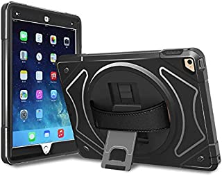iPad Air 2 Case, Moona Hybrid Full Body 3 Layer Armor Protective Shockproof iPad Case Cover with Hand Grip and Rotating Kickstand for Apple iPad Air 2 Case with Retina (Black)