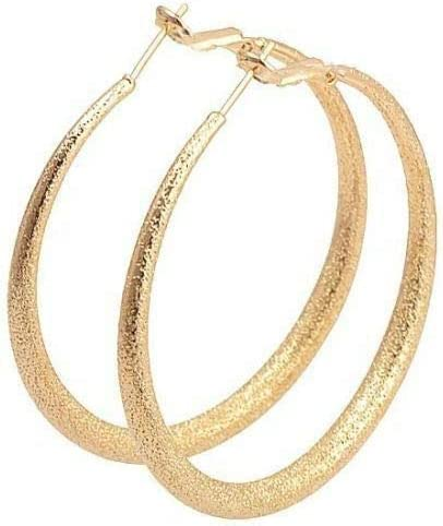 Awesome 9K Yellow Gold Filled Frost Textured 2'' Round Hoop Earrings