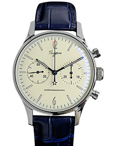 SU1901F001 orologio da uomo in vetro minerale convesso nero cronografo gabinetto ST1901 movimento Mens 1963