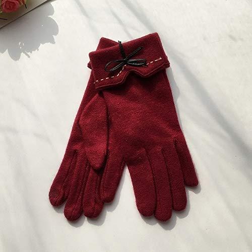 Guantes de invierno elegantes y modernos para pantalla táctil, cálidos, de piel, con lazo bordado, A29 A, color rojo vino